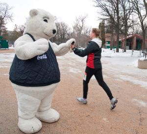 Polar Runners are encouraged along the race route